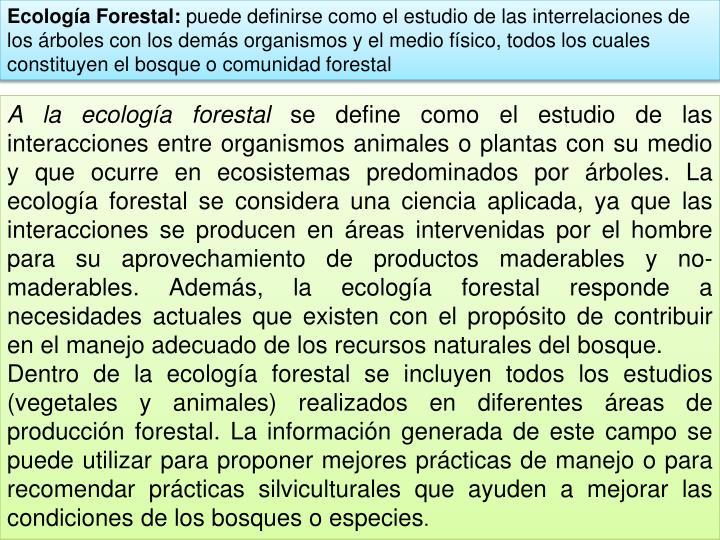 Ecología Forestal: