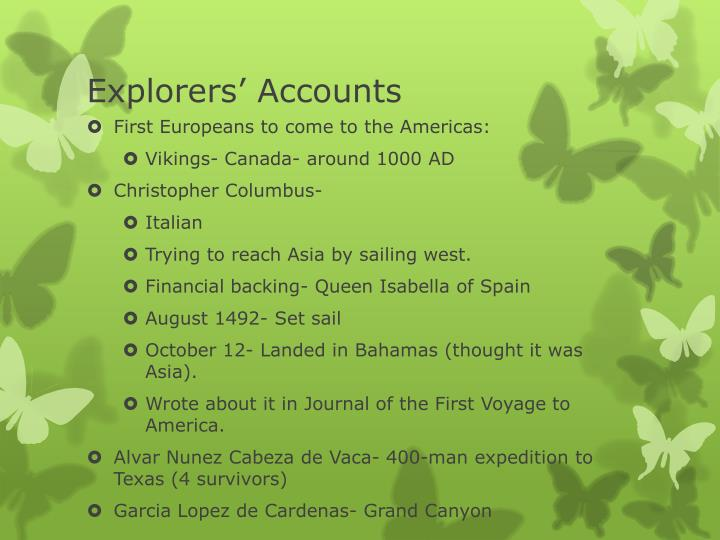 Explorers' Accounts