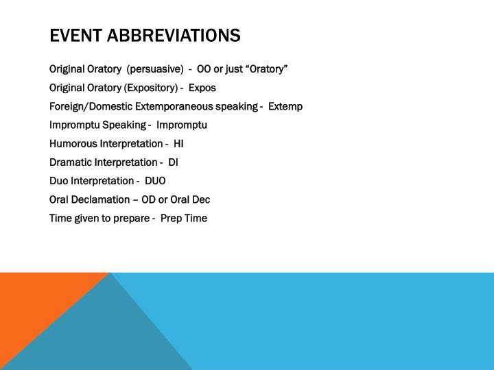Event Abbreviations