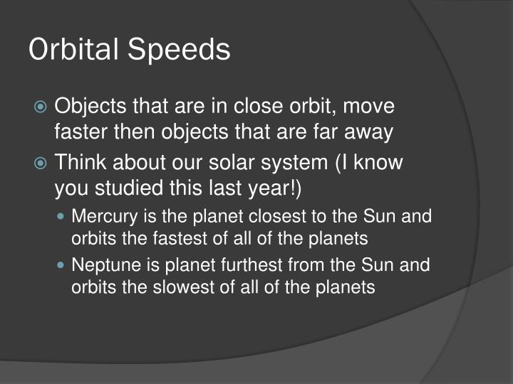 Orbital Speeds
