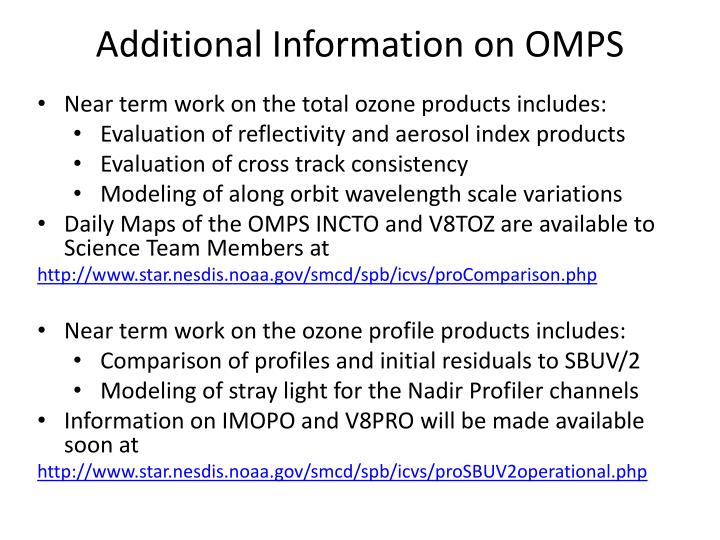Additional Information on OMPS