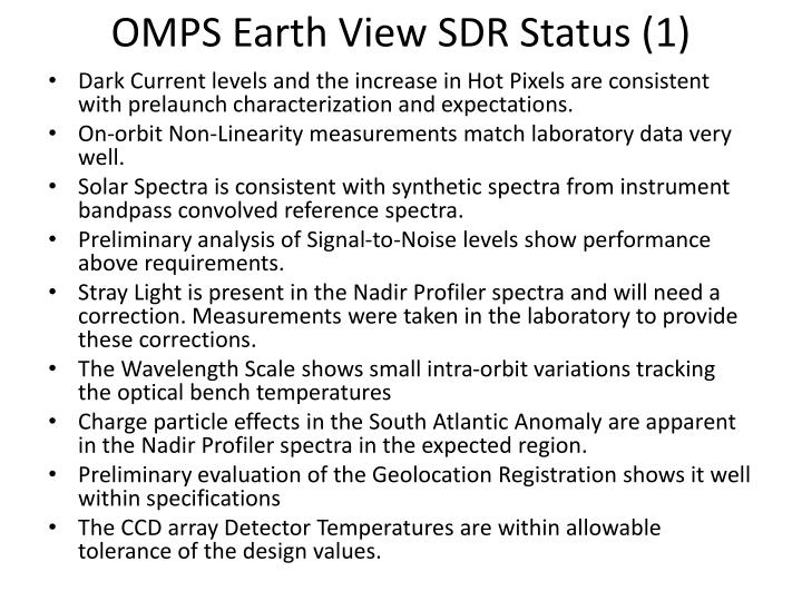 OMPS Earth View SDR Status (1)