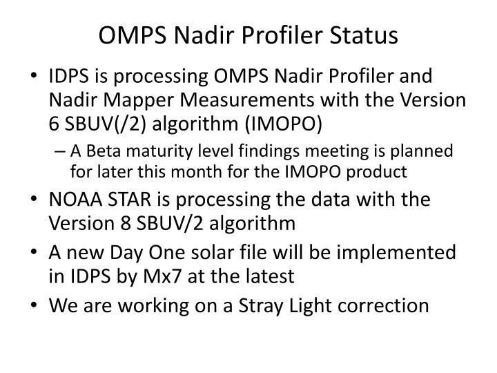 OMPS Nadir Profiler Status