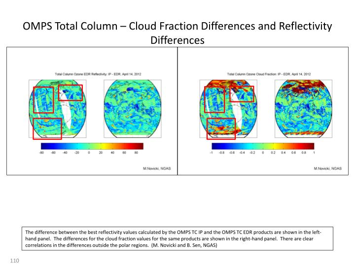 OMPS Total Column – Cloud Fraction Differences and Reflectivity Differences