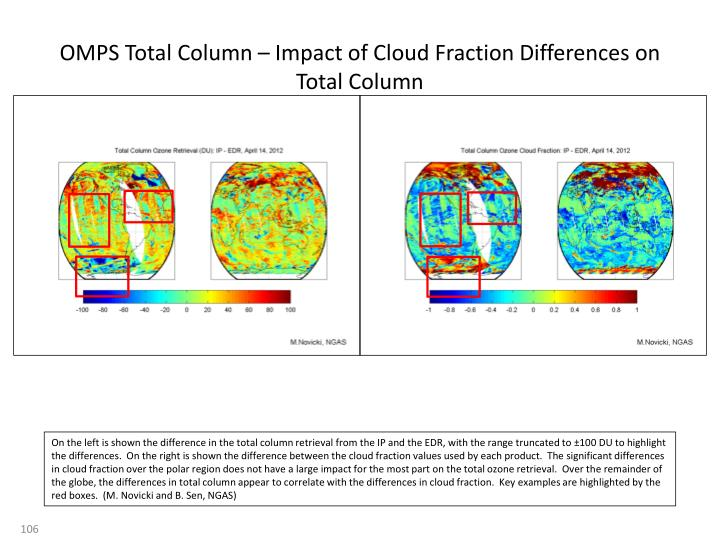 OMPS Total Column – Impact of Cloud Fraction Differences on Total Column