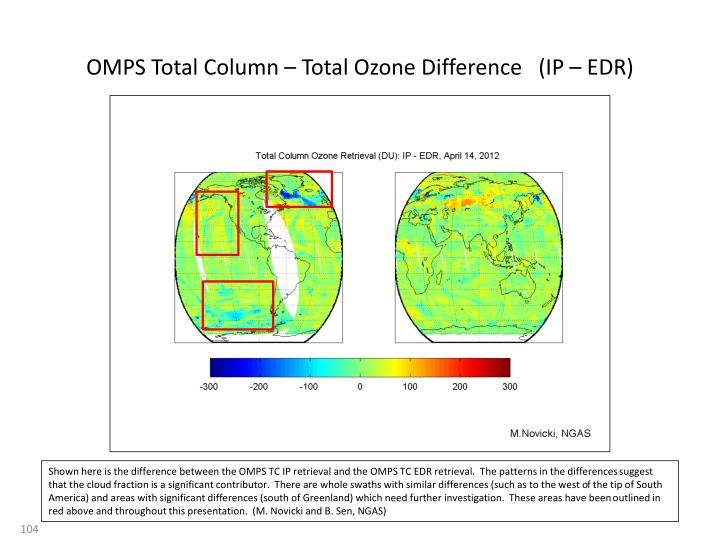 OMPS Total Column – Total Ozone Difference   (IP – EDR)