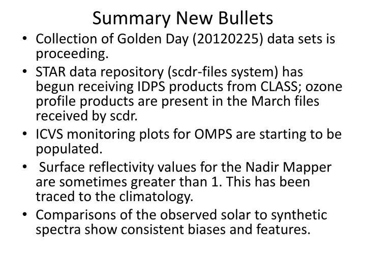 Summary New Bullets