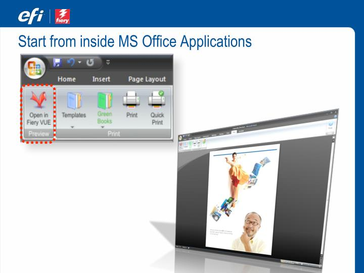 Start from inside MS Office Applications