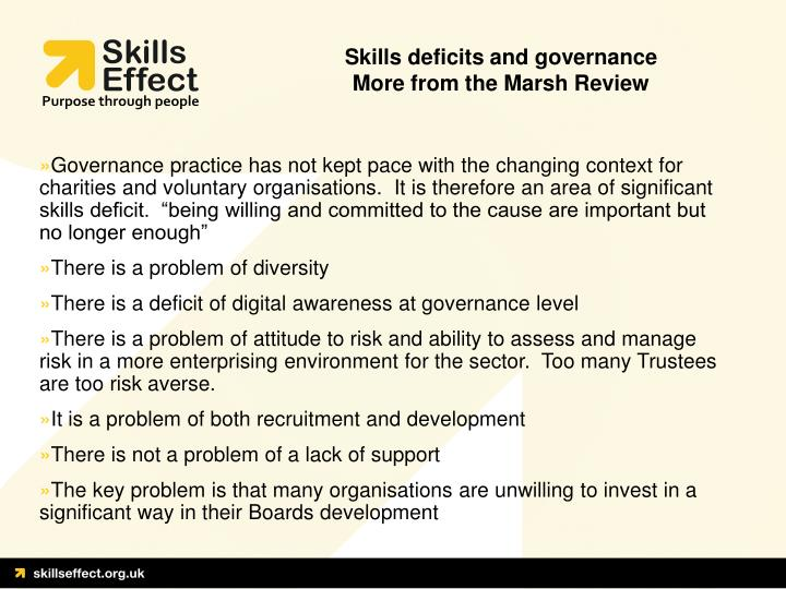 Skills deficits and governance