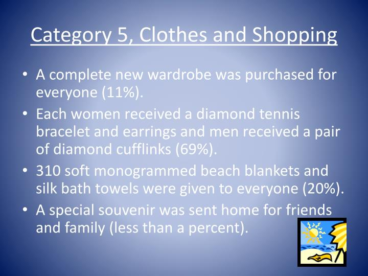 Category 5, Clothes and Shopping