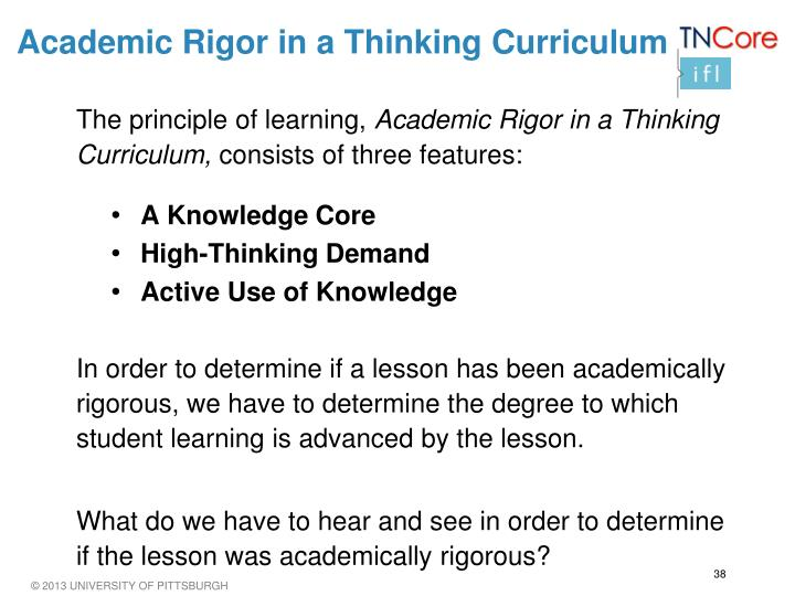 Academic Rigor in a Thinking Curriculum