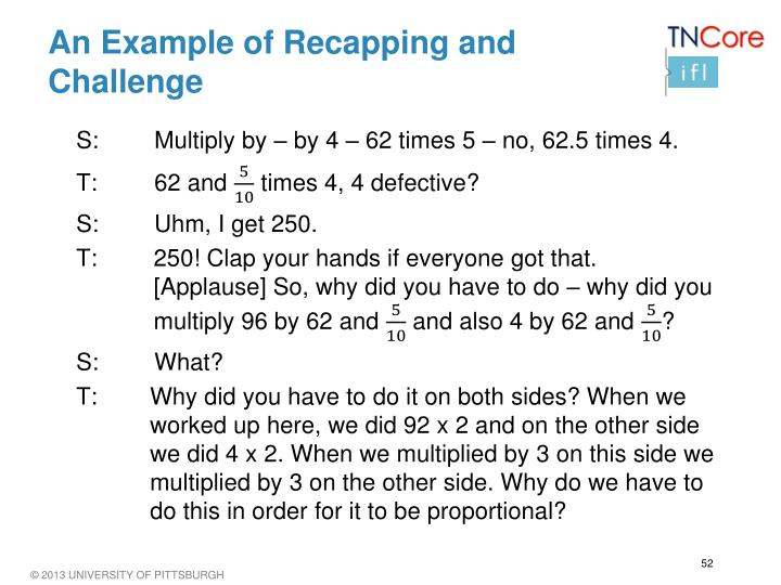 An Example of Recapping and Challenge