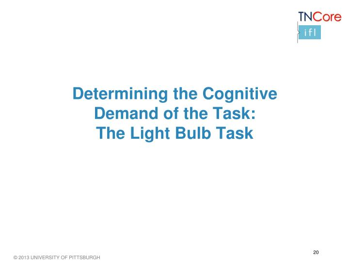 Determining the Cognitive Demand of the Task: