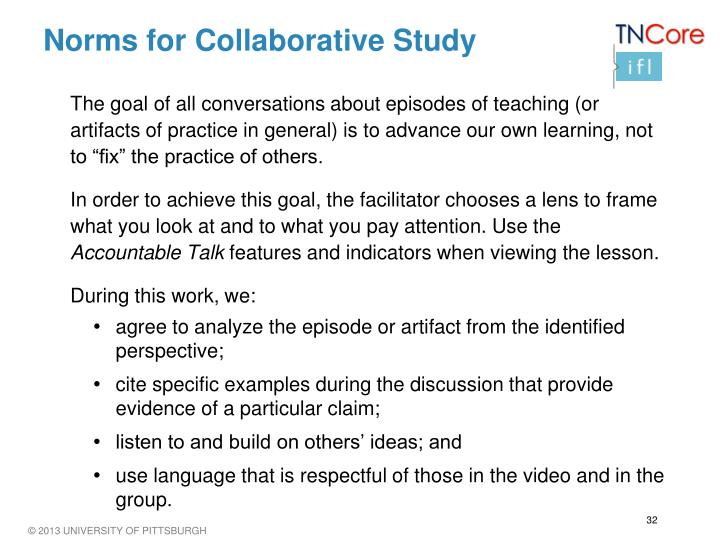 Norms for Collaborative Study