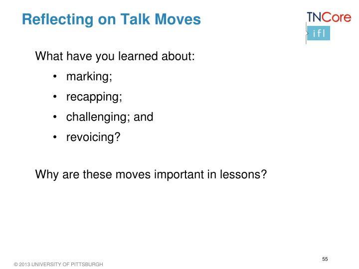 Reflecting on Talk Moves