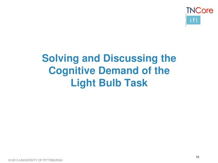 Solving and Discussing the Cognitive Demand of the