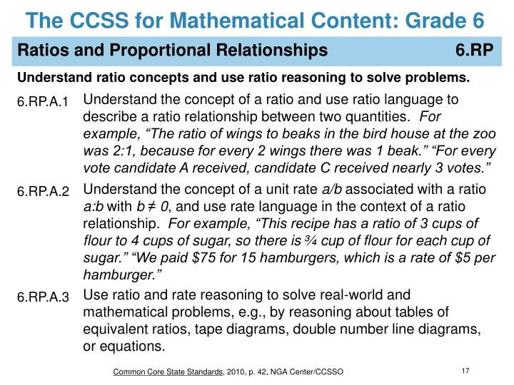 The CCSS for Mathematical Content: Grade 6