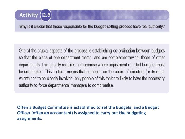 Often a Budget Committee is established to set the budgets, and a Budget Officer (often an accountant) is assigned to carry out the budgeting assignments.