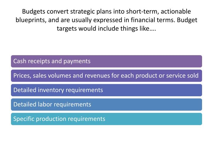 Budgets convert strategic plans into short-term, actionable blueprints, and are usually expressed in financial terms. Budget targets would include things like….