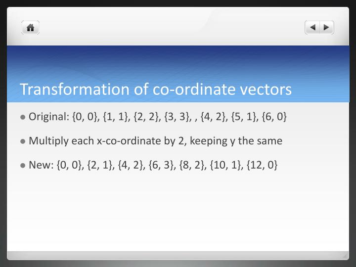 Transformation of co-ordinate vectors