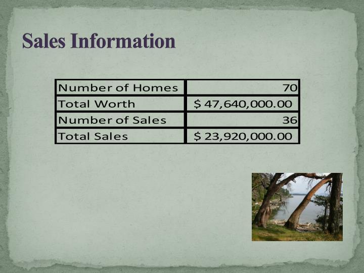 Sales Information