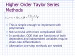 higher order taylor series methods