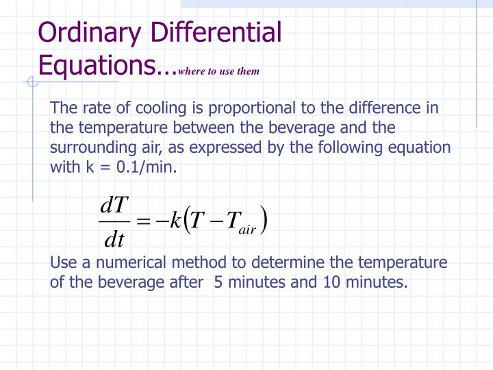Ordinary Differential Equations…