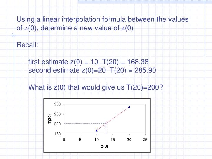 Using a linear interpolation formula between the values