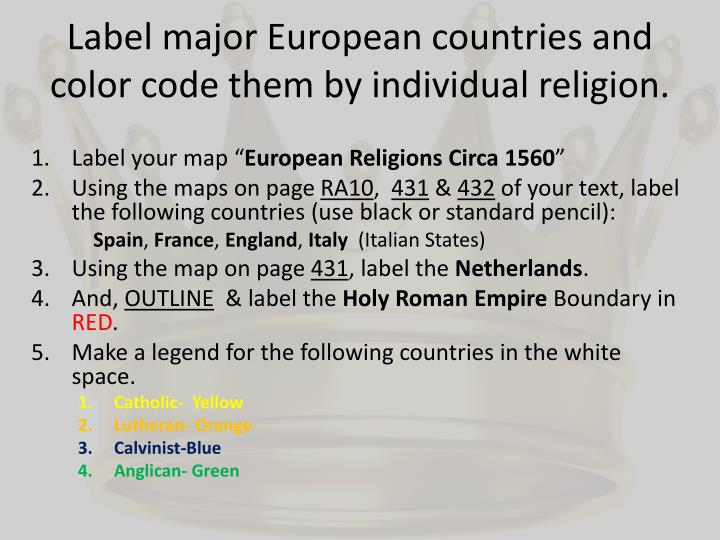 Label major European countries and color code them by individual religion.
