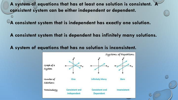 A system of equations that has at least one solution is consistent.  A consistent system can be either independent or dependent.