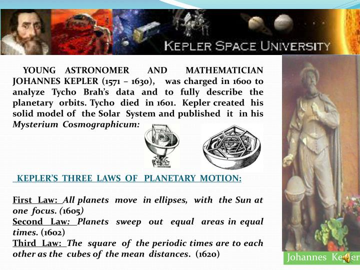 YOUNG ASTRONOMER  AND  MATHEMATICIAN JOHANNES KEPLER (1571 – 1630),   was charged in 1600 to analyze