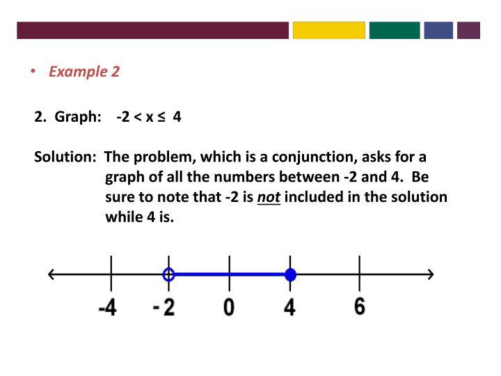 2.  Graph:    -2 < x ≤  4