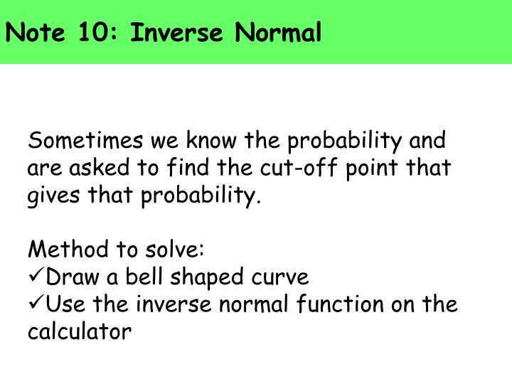 Note 10: Inverse Normal