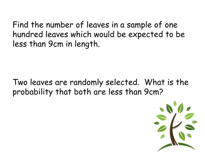 Find the number of leaves in a sample of one hundred leaves which would be expected to be less than 9cm in length.