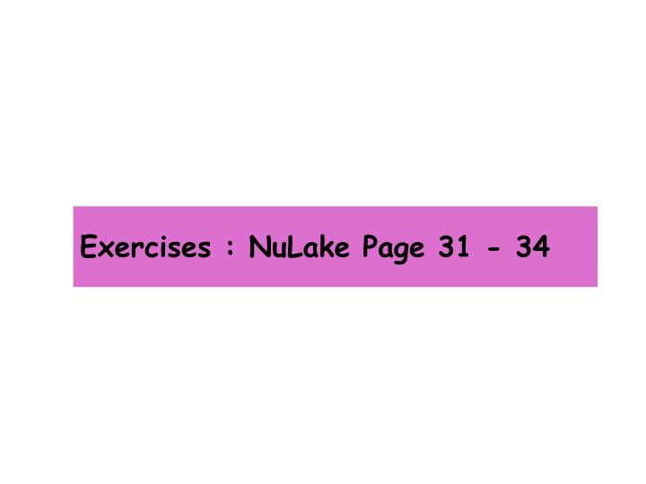 Exercises : NuLake Page 31 - 34