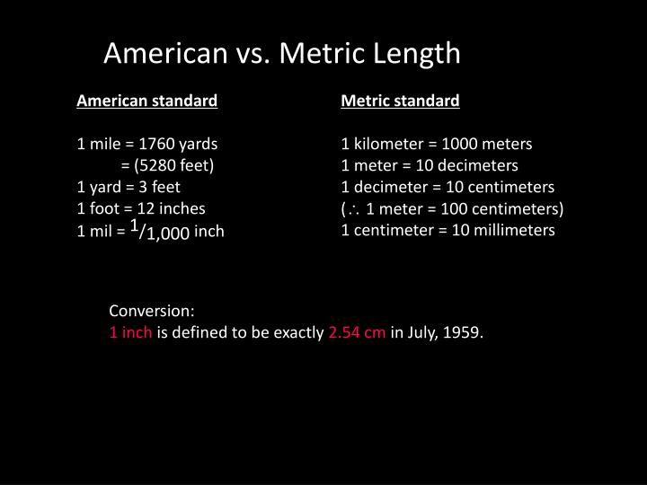 American vs. Metric Length