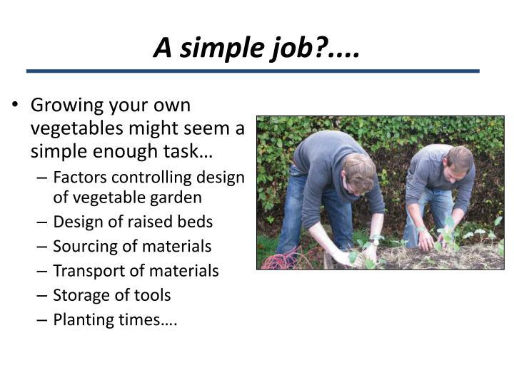 A simple job?....