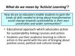 what do we mean by activist learning