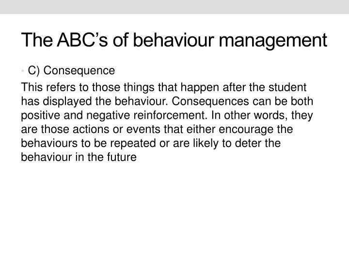 The ABC's of behaviour management