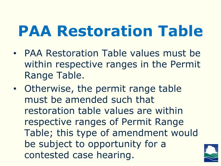 PAA Restoration Table