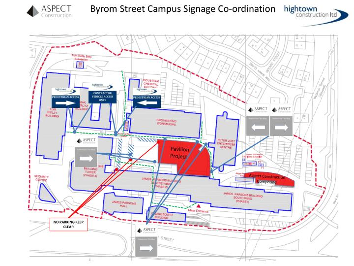 Byrom Street Campus Signage Co-ordination