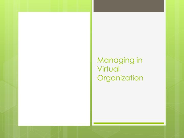 Managing in Virtual Organization