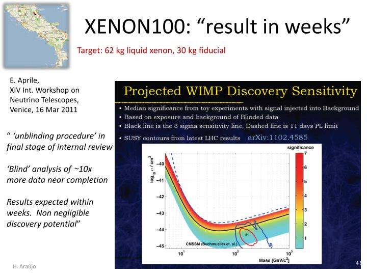"XENON100: ""result in weeks"""
