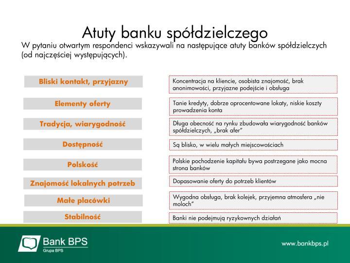 Atuty banku spółdzielczego