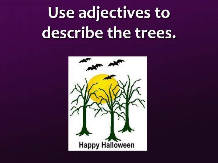 Use adjectives to describe the trees.
