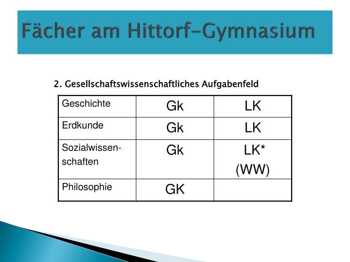 Fächer am Hittorf-Gymnasium