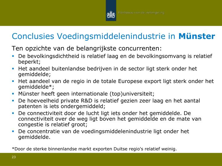 Conclusies Voedingsmiddelenindustrie in