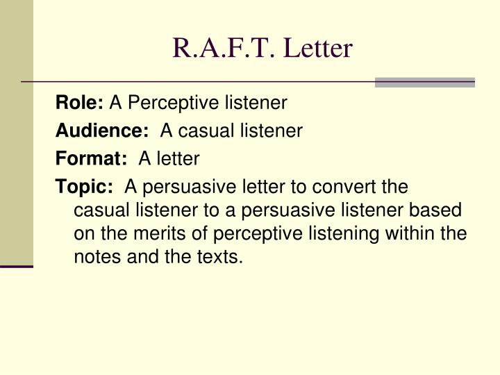 R.A.F.T. Letter