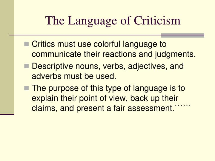 The Language of Criticism