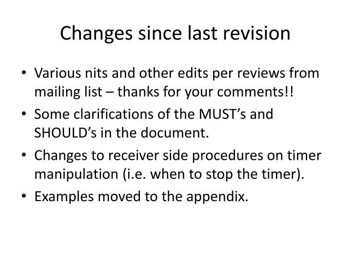 Changes since last revision